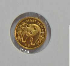 "China – 20 Yuan 1986 ""Panda"" 1/20 oz - gold"