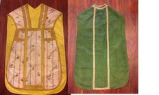 2 antique silk taffeta chasubles, with gold metallic lame yarn - France - 18th C