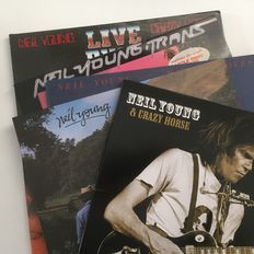 Neil Young, collection of 5 records including Live Rust, Hawks & Doves, Old Ways