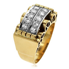 18kt white and yellow gold Ring with diamonds 1ct - size 60