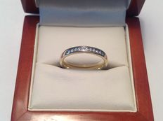 14 kt yellow gold ring with 11 brilliant cut diamonds, approx. 0.17 ct in total, melee setting. F-G, VVS