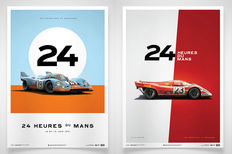 2 x Porsche art prints: 917 - 24 Heures du Mans 1971 and 1970 - 70 x 50 cm