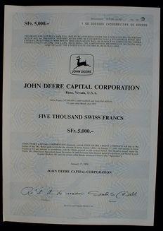 USA John Deere 5000 Swiss Francs Bond Reno Nevada , 1989