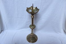 Antique copper altar baluster candlestick - France -  19/20th century.