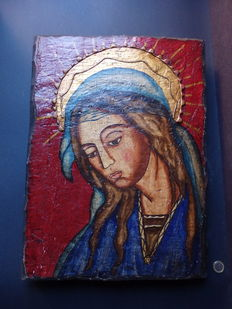 Large Orthodox icon of Mary - Greece - Mid 20th century