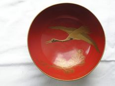 Lacquer bowl with crane and pine tree - Japan - early 20th century
