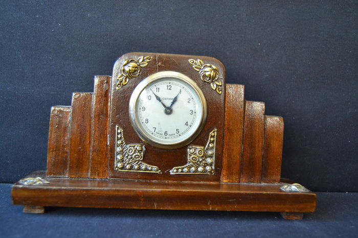 Antique desk clock - wood , siver details - Portugal ca. 1940 - Antique Desk Clock - Wood , Siver Details - Portugal Ca. 1940 - Catawiki