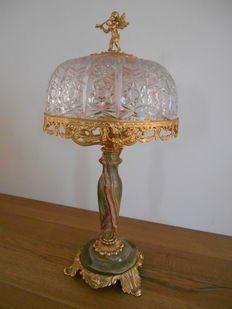 Magnificent table lamp in onyx and bronze