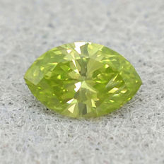 0.105ct Rarity! Olive green diamond marquise brilliant including. Certificate