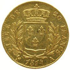 France - 20 francs 1814A - Louis XVIII, gold.