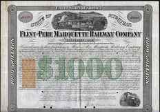 USA (Michigan) - Flint and Pere Marquette Railway Company, $1000 Land Grant Bond - 1868