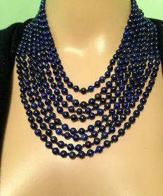 Multi-Row Necklace of Afghan Lapis Lazuli – Total weight 162 g