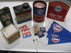 Old cans and other collectibles of Purfina, Fina, and Castrol, total of 16 items.