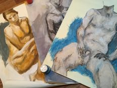 Original; Lot with 3 drawings of male nudes by Paul Groenenberg-2009