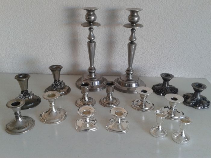 Nice collection of eight sets of silver plated candle holders & Nice collection of eight sets of silver plated candle holders - Catawiki