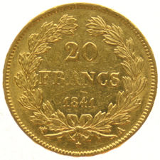 France – 20 Francs 1841A – Louis Philippe I, gold