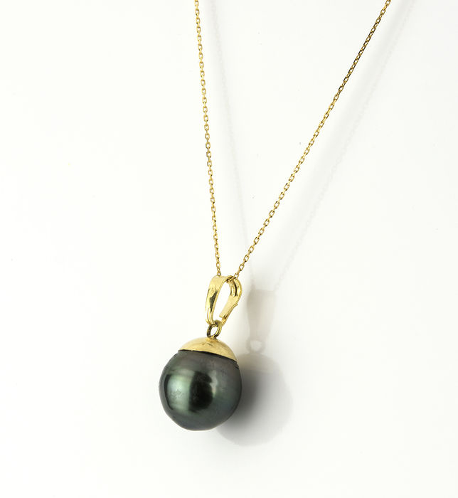 18 kt yellow gold - Chocker with pendant - Tahitian pearl of 10.75 mm - Length: 42 cm