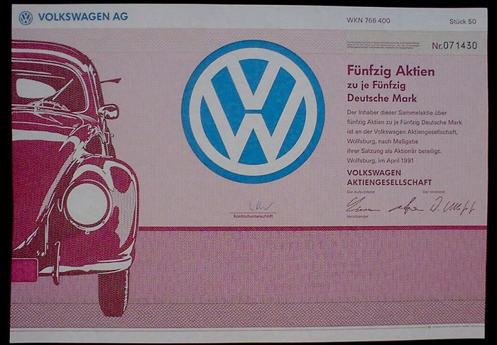 Germany  2 x Volkswagen AG Stock Certificate of 50 Shares Wolfsburg VW Beetle, 1991 + additional 1978
