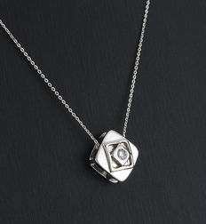 White gold chain and square pendant with one brilliant cut diamond
