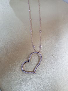 18ct Rose Gold Diamond Heart Pendant with 14ct Rose Gold Diamond Chain 0.88 ct - Total Length 48.5cm.