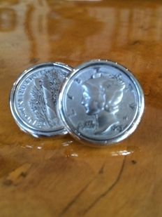 925 Sterling silver dress cuff links, American silver dimes