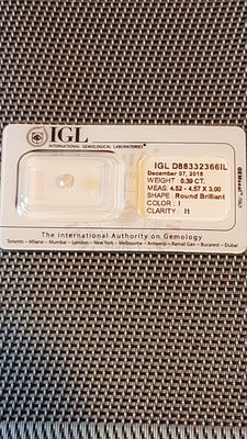 Natural diamond with IGL certificate - 0.39 ct - Colour I - Low reserve price