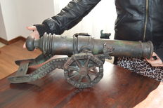 Giant iron cannon fully worked with immense details engraved on top extremely heavy
