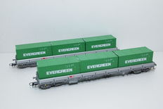 Roco H0 - 67582 - 2 stake cars, both loaded with 3 Evergreen containers of the SBB