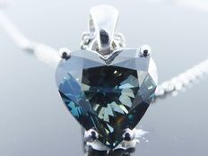 18 kt white gold heart-shaped intense fancy blue colour diamond of 2.05 ct