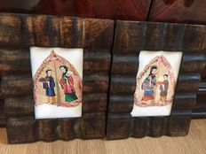 A pair pith paintings - China - 19th century