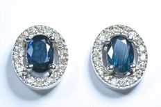 White gold earrings with 36 diamonds and 2 blue sapphires AA, total 1.20 ct. ***No reserve price***