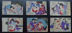 Set of 6 original erotic Shungas attributed to the school of Utagawa - Japan - approx. 1850