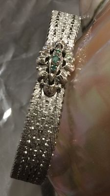 Beautiful bracelet in 18 kt gold and emeralds – Low reserve – Art Deco style