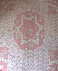 Double cotton thread bedspread with tulle flounce - Italy 1880/1890 - handmade