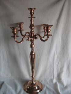 Large red copper plated  candlestick