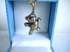 Solid Silver and 18 kt yellow Gold Teddy Bear Pendant with Diamond eyes - Pristine