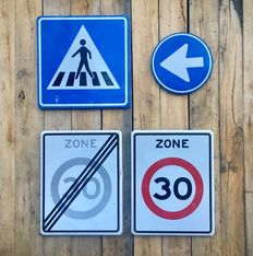 Set of 4 old traffic signs, late 20th century