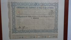 Lot of 6 securities issued from 1924 to 1947 all with original signatures-framed in glass