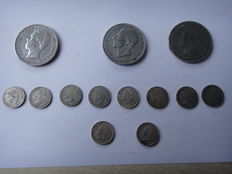 Spain. Lot of 3 coins of 5 pesetas 1871 1892 1885, 8 silver coins of 50 cents of 1894 (Alfonso XIII), 2 silver coins of 50 cents 1904 (Alfonso XIII)