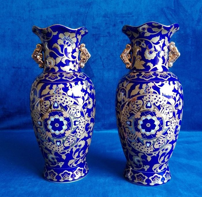 Pair Of Beautiful Cobalt Blue Vases With Gilded Handles Catawiki