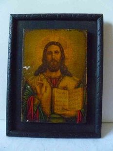 Religious icon, representing the Christ, on recomposed wood