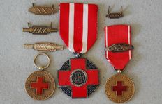 Netherlands WW II-Red Cross medals with buckles.