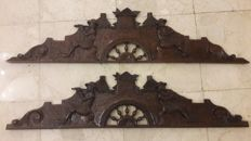 A pair of hand carved oak over door friezes - Italy, early 20th C