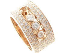 Rose gold ring set with brilliant cut diamonds, 1.20 ct in total