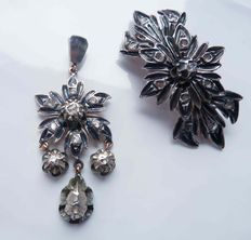 Victorian pendant and brooch with rose cut diamonds from 1880