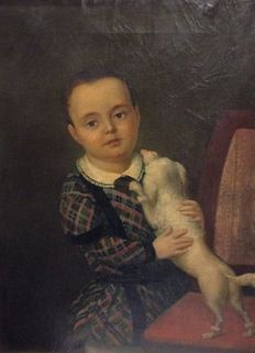 Spanish school (19th c.) - Niño jugando con perrito