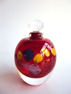 M.Parot - Unique Ruby Red flask - dated/signed