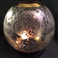 A crystal spherical vase with etched decoration in the style of Friedrich Egermann, Bohemia, second half 20th century