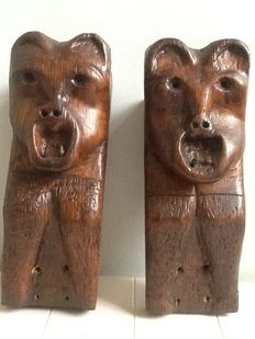 Two folk art wooden fireplace supports - ca. 1820