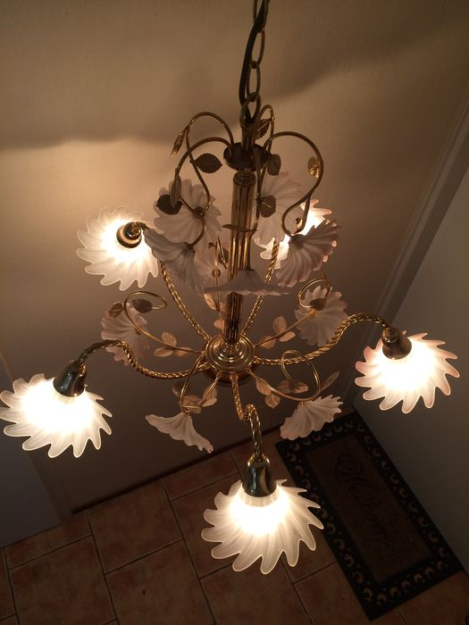 Italian chandelier with five arms and three matching wall lights ...
